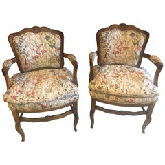 Country French Boudoir Fauteuil Louis XV Chairs in Quilted like Upholstery, pair