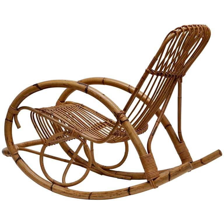 Franco Albini Style Wicker Bamboo Rocking Chair For Sale