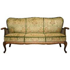 Set Of Three Living Room Velour Caned Sofa Couch and Two Armchairs, Italy