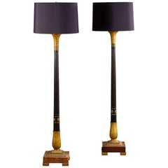 2 Vintage French Neoclassical Bronze Gilt Bronze Column Floor Lamps, circa 1910