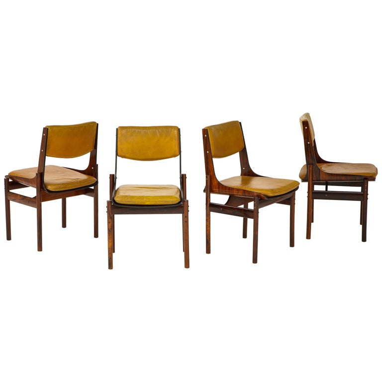 Seat of Four Jacaranda and Leather Chairs from Brazil For Sale