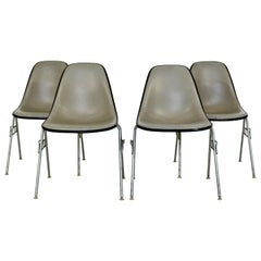 Mid-Century Modern Set 4 Eames Herman Miller Leather Stackable DSS Chairs, 1960s