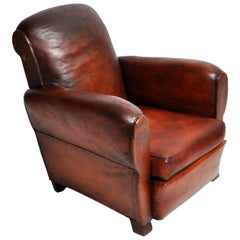 French Art Deco Leather Armchair