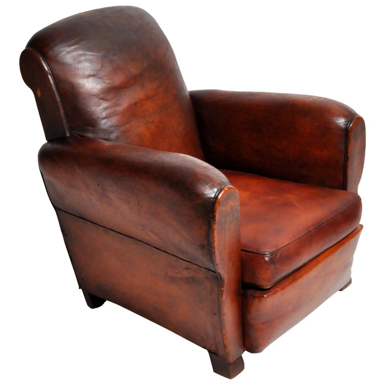 French Art Deco Leather Armchair at 1stdibs