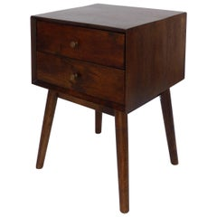 Mid-Century Modern Solid Mahogany Side Table with Two Drawers and Splayed Legs