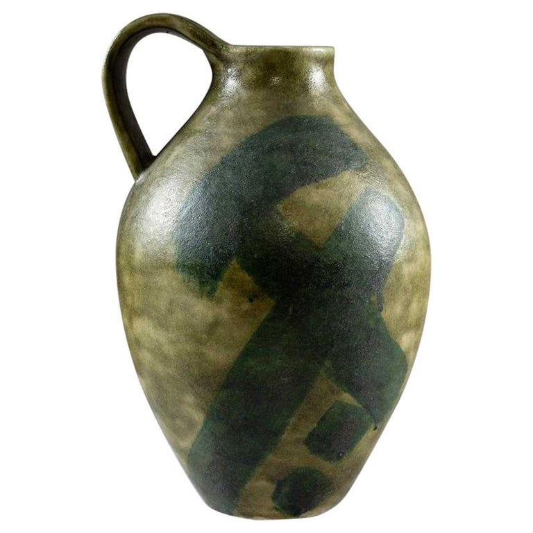 Large Italian Stoneware Pitcher by Guido Gambone For Sale
