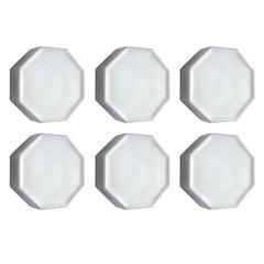 Six German Vintage Minimalist Glass Flush Mounts Ceiling or Wall Lights, 1960s