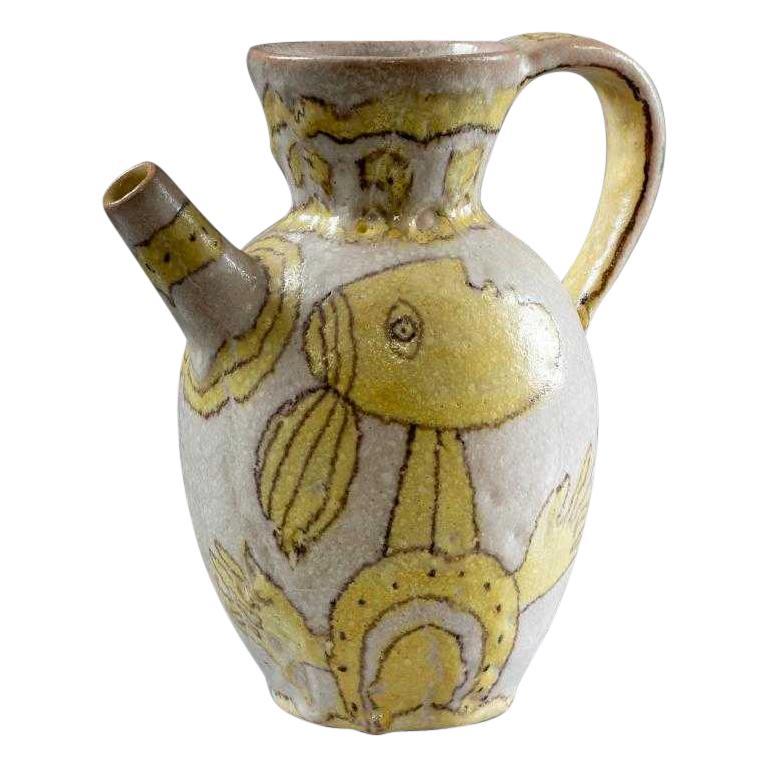Italian Glazed Stoneware Pitcher by Guido Gambone For Sale