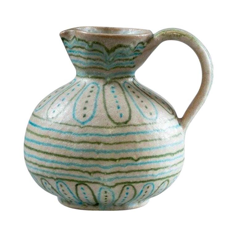 Italian Glazed Stoneware Pitcher by Guido Gambone