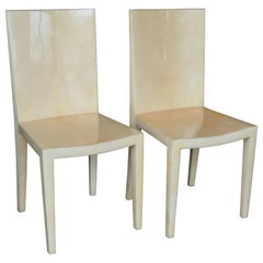 Pair of Karl Springer Parchment Chairs