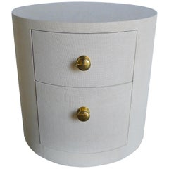 Paul Marra Linen-Wrapped Round Nightstand