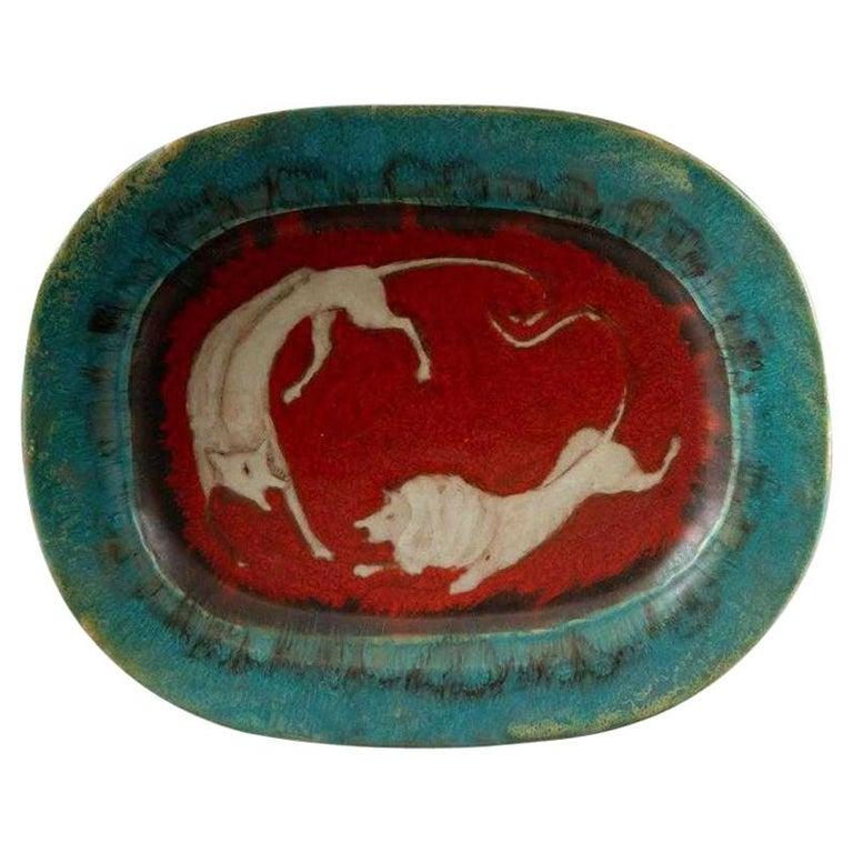 Italian Ceramic Art Platter by Eugenio Pattarino For Sale