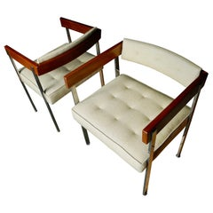 Mid-Century Modern Pull-Up/Side Upholstered Chairs by Harvey Probber