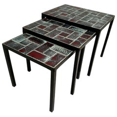Three Mid-Century Black Wrought Iron Ceramic Tile Stacking Tables circa 1960