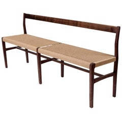 Giacomo Bench with Back, extra-long in Walnut with Danish Cord Seat