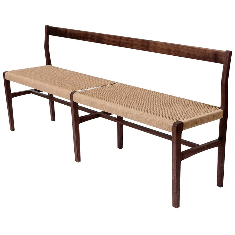 Excellent Giacomo Bench With Back Extra Long In Walnut With Danish Cord Seat Ibusinesslaw Wood Chair Design Ideas Ibusinesslaworg
