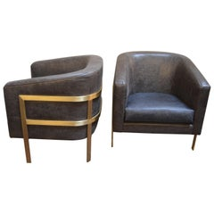 Pair of Armchairs in the Style of Milo Baughman