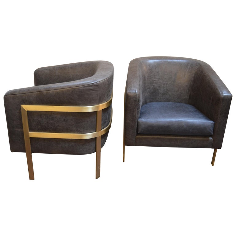 Pair of Armchairs in the Style of Milo Baughman For Sale
