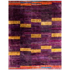 Rumi 'Khayyam-Byzantium' Hand-Knotted, Natural Silk, Contemporary, Purple Rug