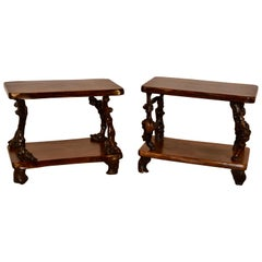 Pair of French Grapevine and Walnut Tables