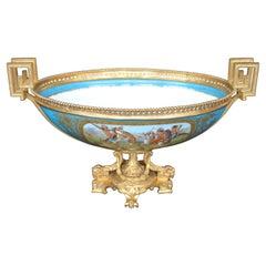 Sevres Style Parcel-Gilt Ormolu Mounted Enameled Blue Celeste Bowl