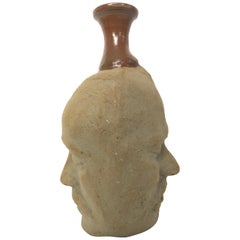 Double Sided Pottery Face Vase of Two Men