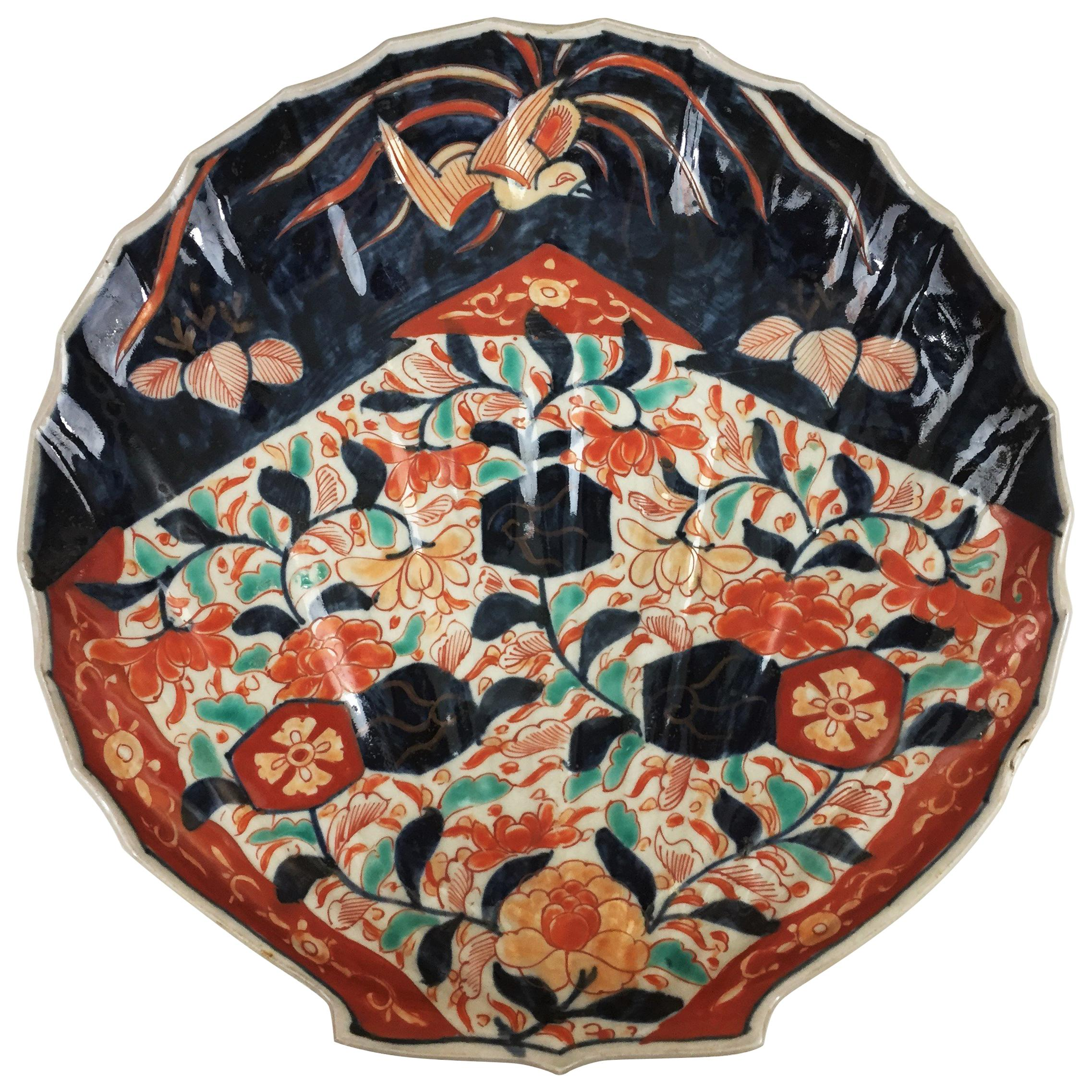 Japan Imari Porcelain Dish Shaped like a Scallop Shell Blue, Red and Turquoise