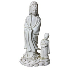 """17th or 18th Century Kangxi Period """"Blanc de Chine"""" Porcelain Mother and Son"""