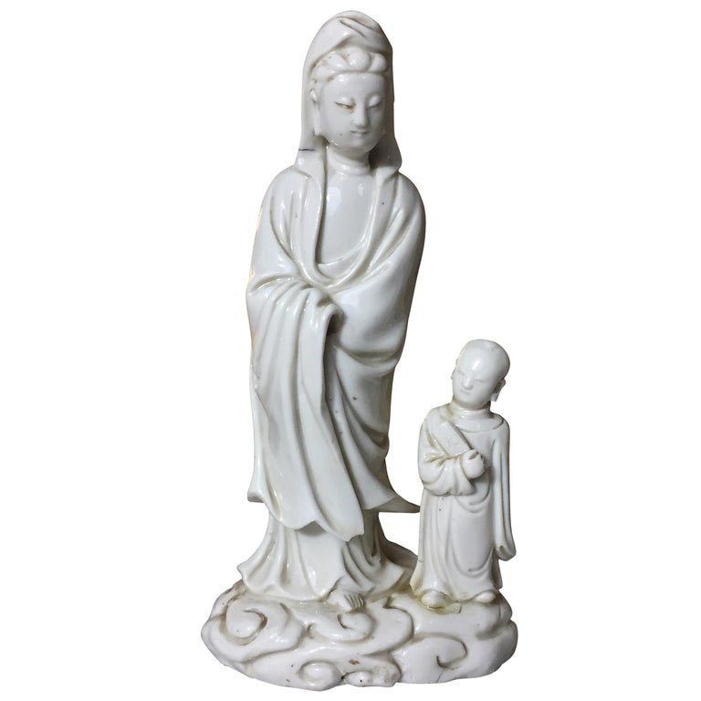 """17th or 18th Century Kangxi Period """"Blanc de Chine"""" Porcelain Mother and Son For Sale"""