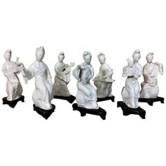"""Blanc de Chine"" Porcelaine Statuettes Traditional Instruments Players"