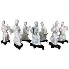"""Blanc de Chine"" Porcelaine Statuettes Traditional Instruments Players"