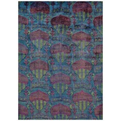 Rumi 'Hikmet- Marine' Hand Knotted, Silk, Transitional, Aqua Blue, Over-Dye Rug