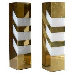 Pair of Mid-Century Modern Geometric Brass Lamps