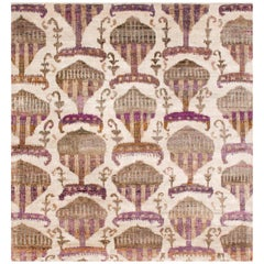 Rumi 'Hikmet-Grape' Hand-Knotted, Silk, Transitional, Beige, Antique Purple Rug