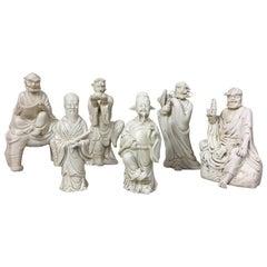 """""""Blanc de Chine"""" Porcelain Statuettes Taoiste Wises, circa 1900"""