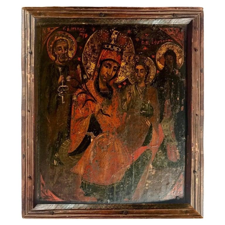 Rare 17th Century Russian Orthodox Icon For Sale