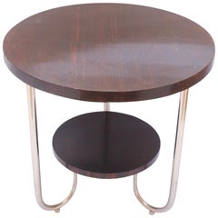Bauhaus Round Palisander Side Coffee Table in the Style of Josef Hoffmann, 1930s
