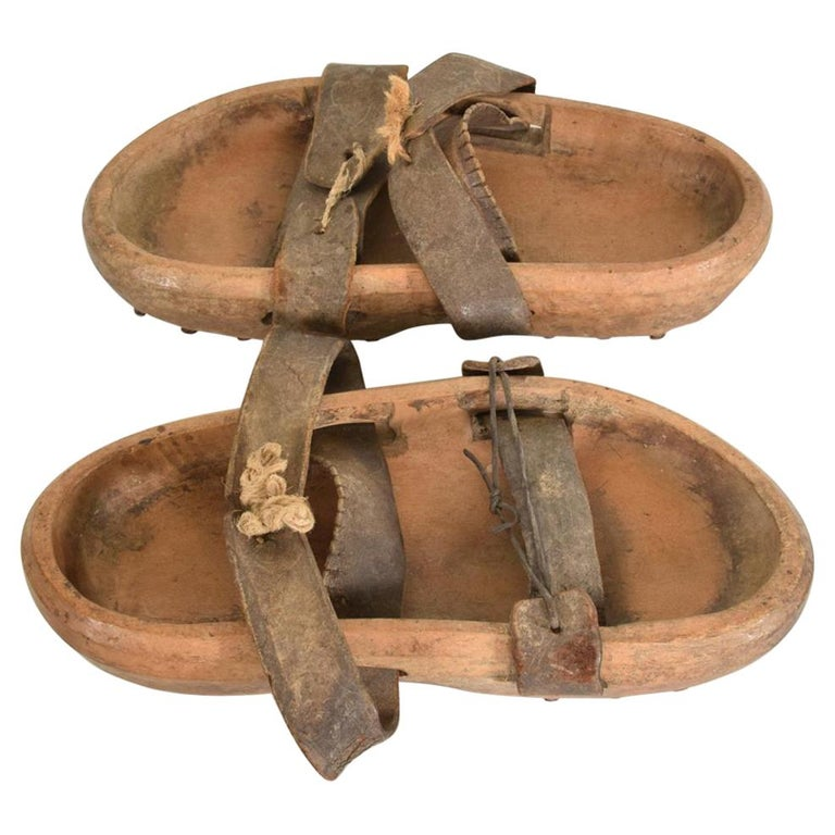 Antique Decorative Wood Gardening Shoes Japanese Asian