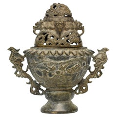 Antique Ceremonial Incense Burner, Dragon and Phoenix