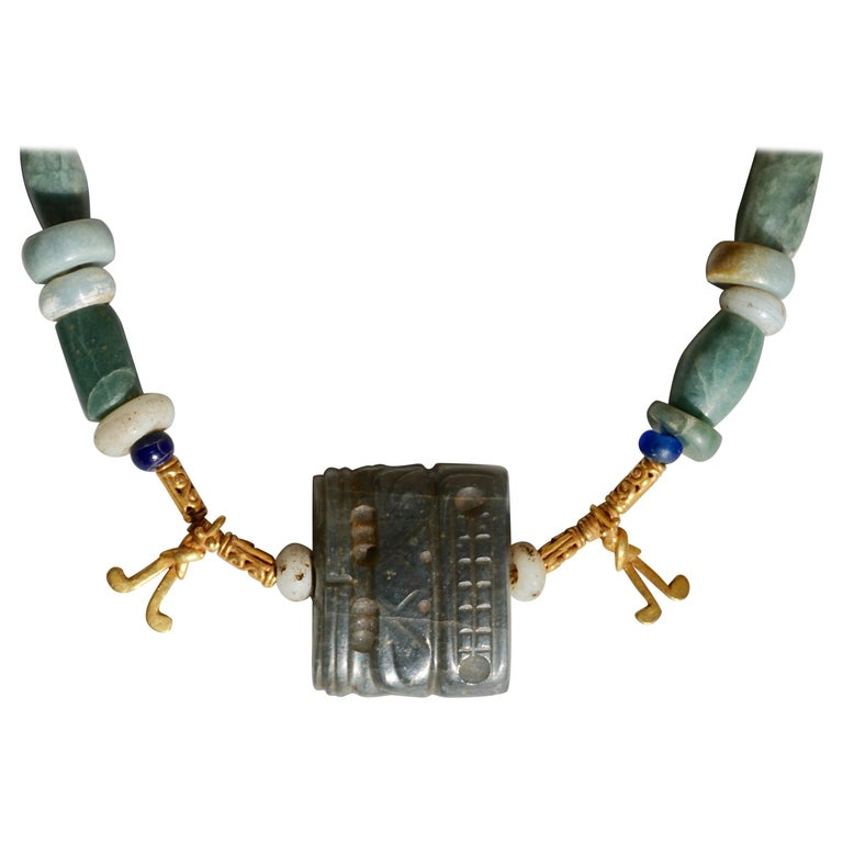 Pre Columbian Gold and Jade Necklace  For Sale