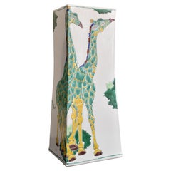 Large Japanese Contemporary Kutani Green Yellow Porcelain Vase by Master Artist