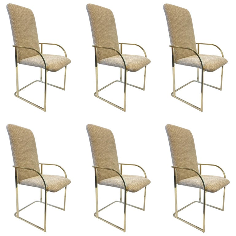 Set of Six Brass High Back Dining Chairs by DIA For Sale