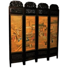 Rare 19th Century Chinese Carved Asian Hardwood Four-Panel Silk Screen