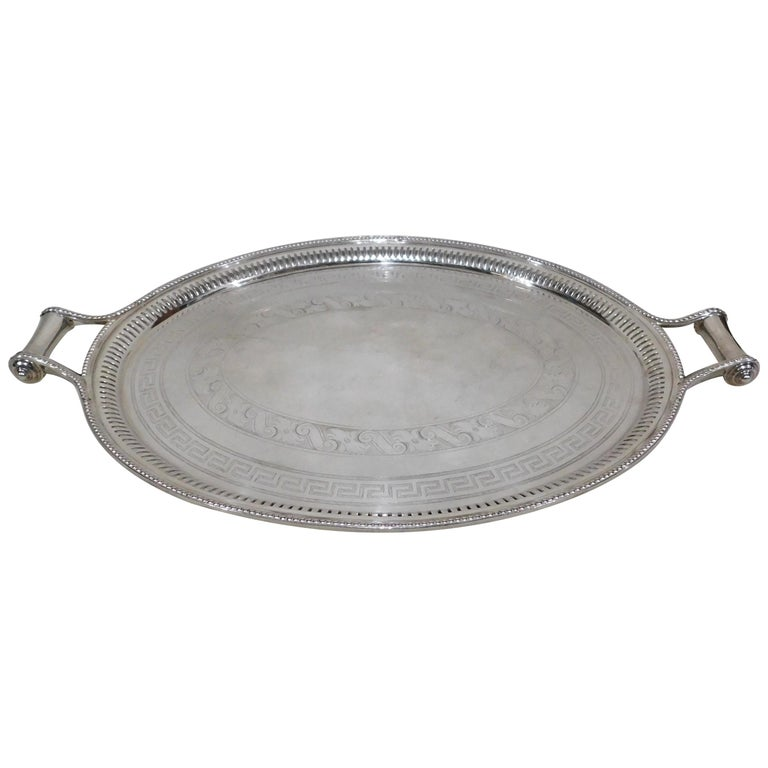 Large Vintage Oval English Silver Plated Serving Tray With Handles Circa 1890 For