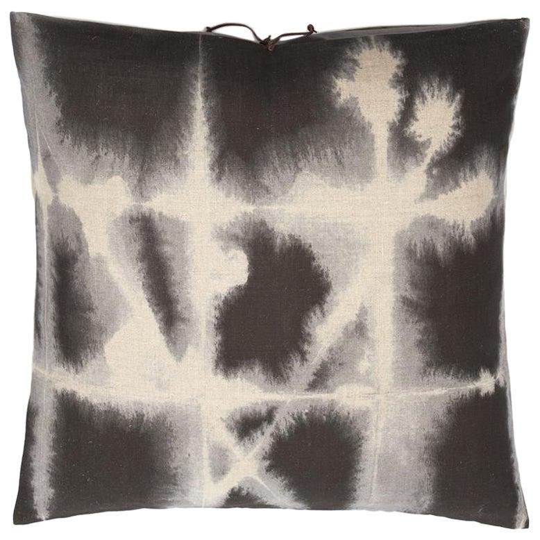 Printed Linen Throw Pillow Grid Grey