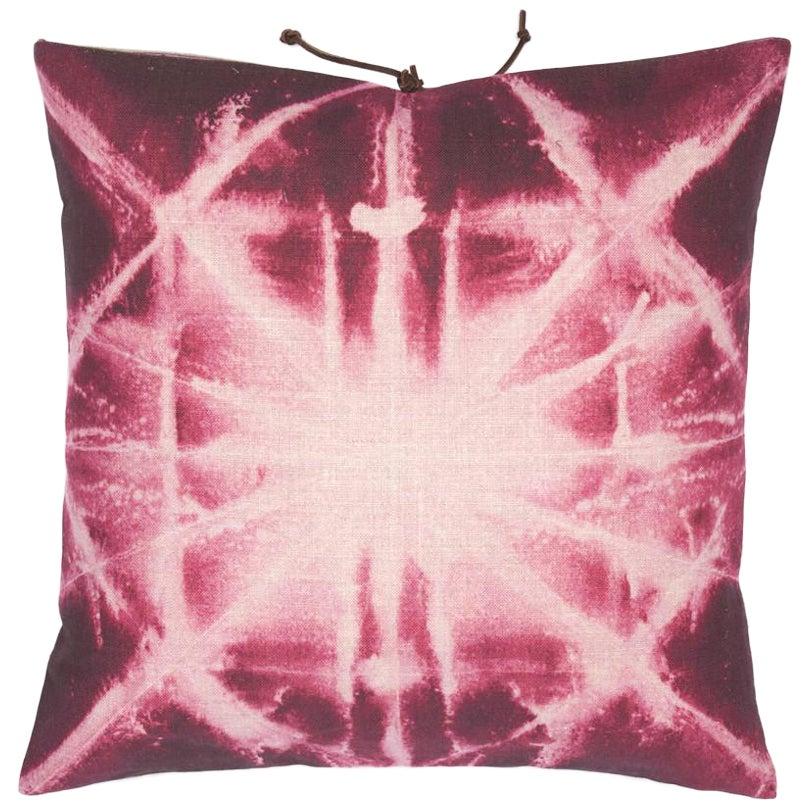 Printed Linen Throw Pillow Starburst Plum