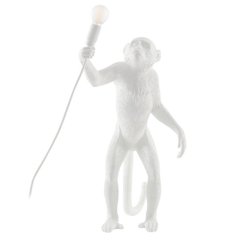 "Seletti ""Outdoor White Standing Monkey Lamp"", Resin Lamp For Sale"