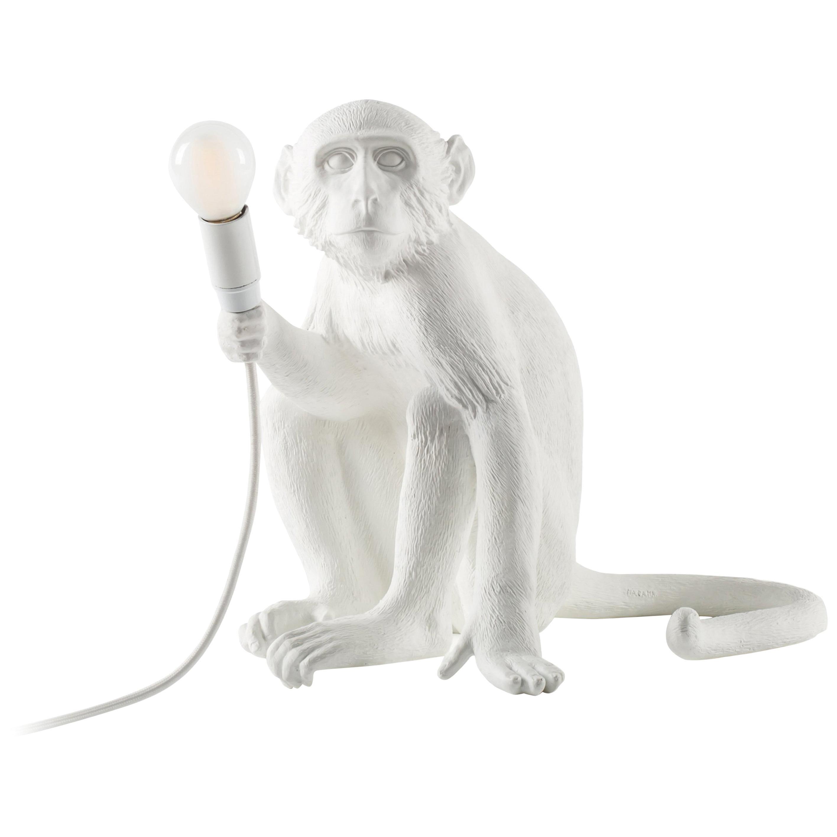 "Seletti ""Outdoor White Sitting Monkey Lamp"", Resin Lamp"