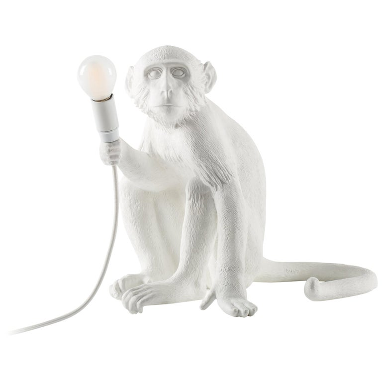 "Seletti ""Outdoor White Sitting Monkey Lamp"", Resin Lamp For Sale"