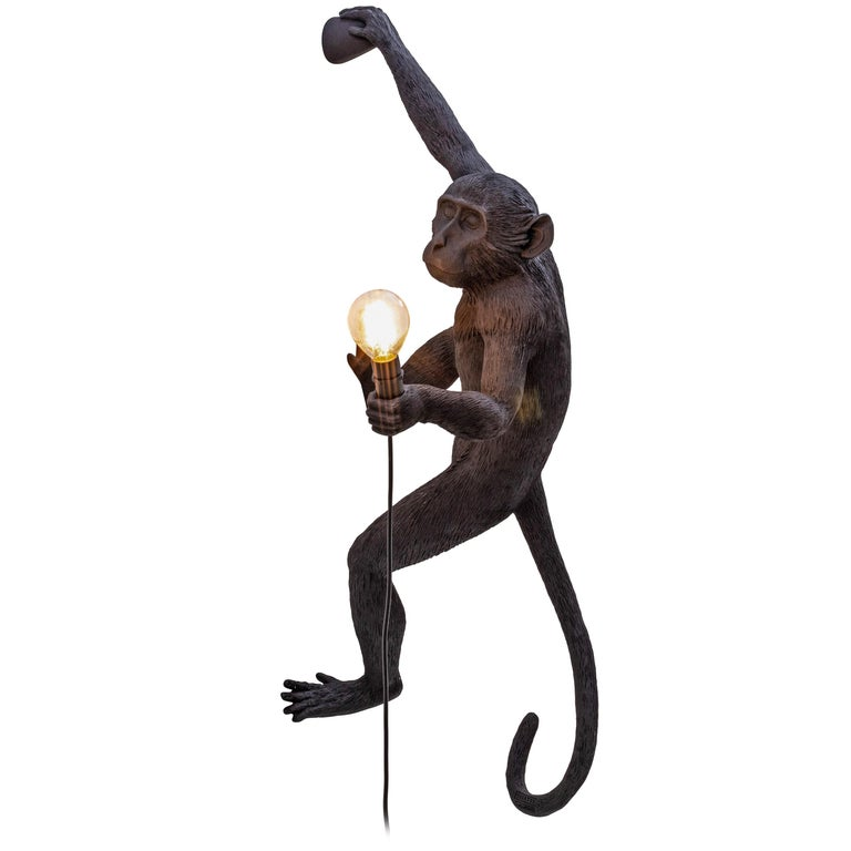 """Seletti """"Outdoor Black Hanging Monkey Lamp"""", Resin Lamp, Right Hand #5 For Sale"""